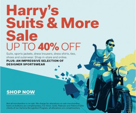 Harrry Rosen Harry's Suits & More Sale - Up to 40 Off