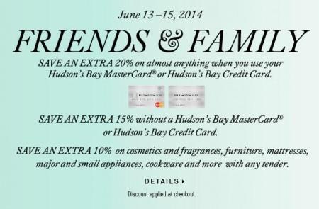 Hudson's Bay Friends & Family Sale (June 13-15)
