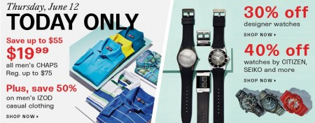 Hudson's Bay One Day Sales - 30 Off Designer Watches and Up to 73 Off Men's CHAP Shirts (June 12)
