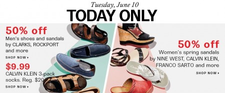 Hudson's Bay One Day Sales - Save 50 Off select Men's and Women's Shoes (June 10)