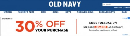 Old Navy 30 Off Your Purchase Promo Code (Until July 1)