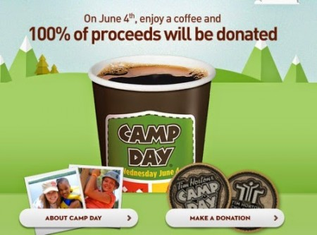 Tim Hortons Camp Day - 100 of Coffee Proceeds will be Donated (June 4)
