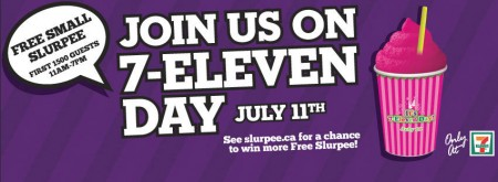 7-Eleven FREE Slurpee Day (July 11, 11am-7pm)