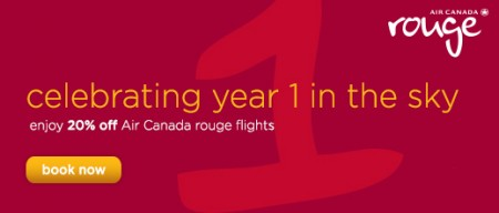 Air Canada 20 Off All Air Canada Rouge Flights (Book by July 2)