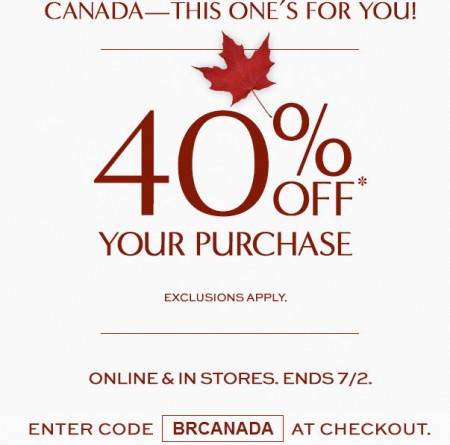 Banana Republic Canada Day Sale - 40 Off Your Purchase (July 1-2)
