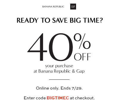 GAP & Banana Republic 40 Off Your Purchase (Until July 29)
