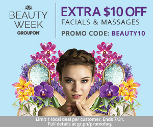 Groupon Extra $10 Off Massage & Facial Deals Promo Code (July 30-31)
