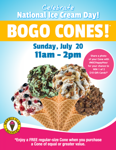 Marble Slab Creamery Buy One, Get One Free Cones (July 20, 11am-2pm)