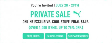 PUMA Private Sale - Save up to 75 Off (July 28-29)