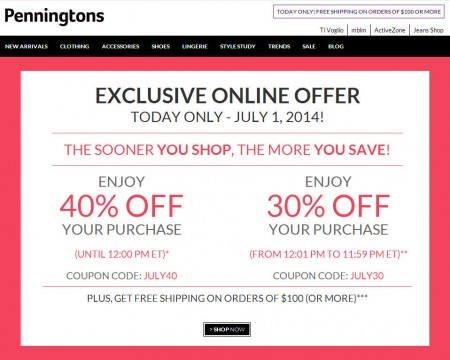 Penningtons Save up to 40 Off Your Purchase (July 1)