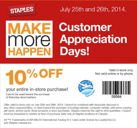 Staples Customer Appreciation Days - 10 Off Entire Purchase Coupon (July 25-26)