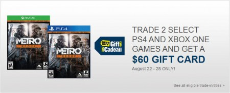 Best Buy Trade 2 Select PS4 or Xbox One Games, Get a $60 Gift Card (Aug 22-28)