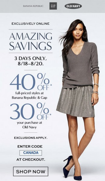 Gap & Banana Republic 40 Off Entire Purchase, or 30 Off at Old Navy (Aug 18-20)