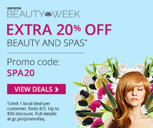 Groupon.com Extra 20 Off Beauty and Spa Deals Promo Code (Aug 1-2)
