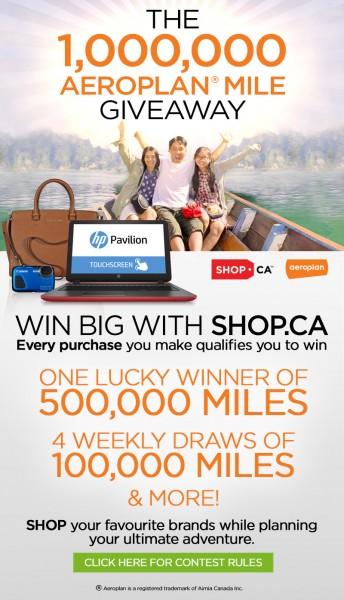 Shop.ca The 1,000,000 Aeroplan Mile Giveaway
