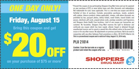 Shoppers Drug Mart $20 Off Coupon on Your Purchase of $75 or More (Aug 15)