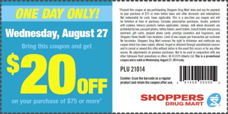 Shoppers Drug Mart $20 Off Coupon on Your Purchase of $75 or More (Aug 27)