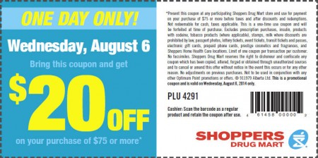 Shoppers Drug Mart $20 Off Coupon on Your Purchase of $75 or More (Aug 6)