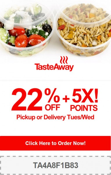 TasteAway 22 Off + 5X Points Pickup or Delivery Promo Code (Aug 19-20)