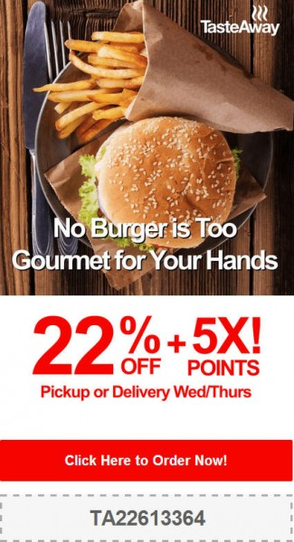 TasteAway Promo Code - 22 Off + 5X Points on Pickup or Delivery Orders (Aug 27-28)
