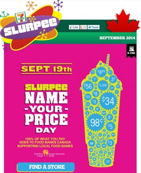 7-Eleven Slurpee Name Your Price Day (Sept 19)