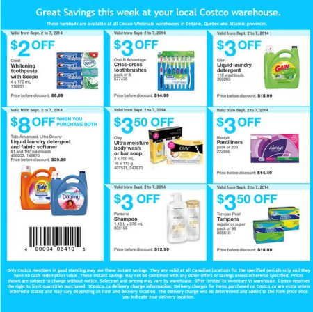 Costco Weekly Handout Instant Savings Coupons East (Sept 2-7)