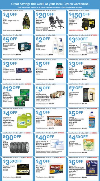 Costco Weekly Handout Instant Savings Coupons East (Sept 29 - Oct 5)