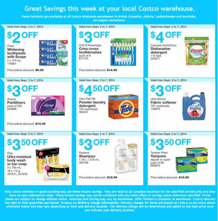 Costco Weekly Handout Instant Savings Coupons West (Sept 2-7)