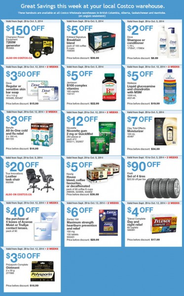 Costco Weekly Handout Instant Savings Coupons West (Sept 29 - Oct 5)