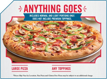 Domino's Pizza $12.99 for Large Pizza with Any Toppings
