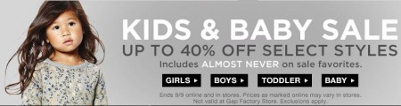 GAP Kids and Baby Sale (Until Sept 9)