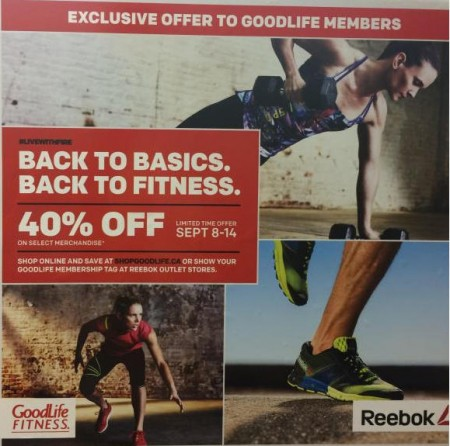 Goodlife Fitness 40 Off Reebok.ca (Sept 8-14)
