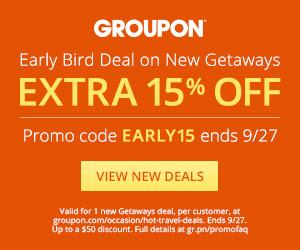 Groupon Extra 15 Off Getaway Deals Promo Code (Sept 26-27)