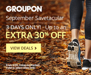 Groupon September Savetacular - Extra 30 Off Select Local Deals Promo Code (Sept 18-20)