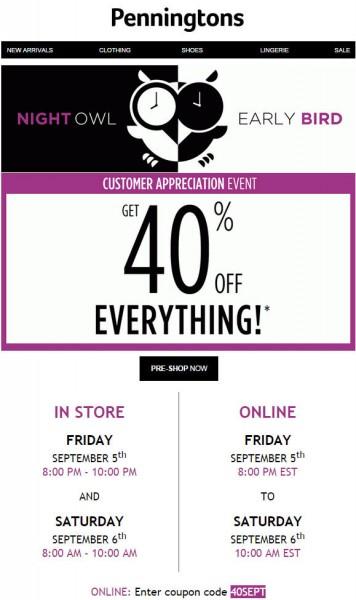 Penningtons Customer Appreciation Event - 40 Off Everything (Sept 5-6)