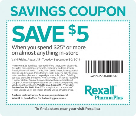 Rexall $5 Off Coupon when you Spend $25 (Until Sept 30)