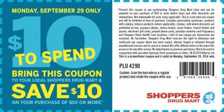 Shoppers Drug Mart $10 Off $50 Purchase Coupon (Aug 27)
