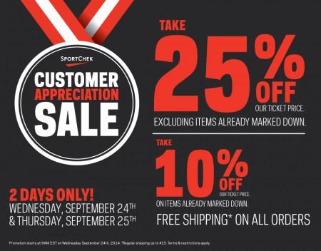 Sport Chek Customer Appreciation Sale - 25 Off Regular Priced Items, 10 Off Sale Items + Free Shipping (Sept 24-25)