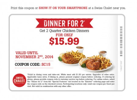Swiss Chalet 2 Quarter Chicken Dinners for $15.99 Coupon (Until Nov 2)