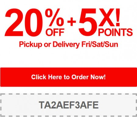 TasteAway Promo Code - 20 Off + 5X Points on Pickup or Delivery Orders (Sept 12-14)