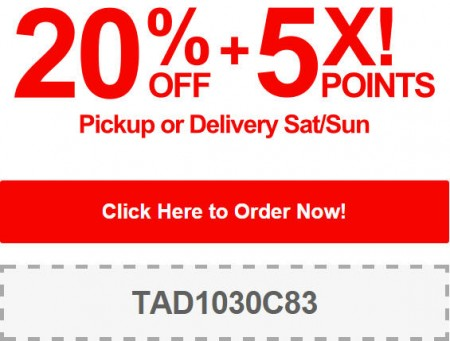 TasteAway Promo Code - 20 Off + 5X Points on Pickup or Delivery Orders (Sept 20-21)