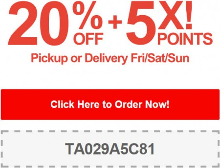 TasteAway Promo Code - 20 Off + 5X Points on Pickup or Delivery Orders (Sept 26-28)