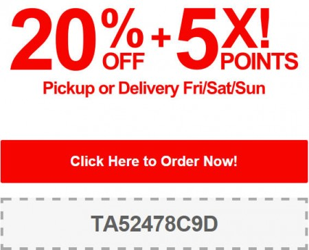 TasteAway Promo Code - 20 Off + 5X Points on Pickup or Delivery Orders (Sept 5-7)