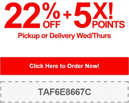 TasteAway Promo Code - 22 Off + 5X Points on Pickup or Delivery Orders (Sept 3-4)