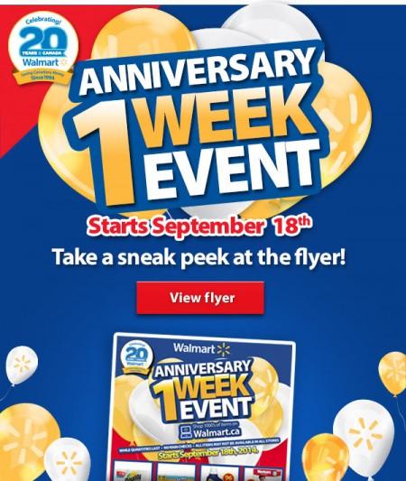 Walmart Anniversary Event - Sneak Peek Flyer (Starts Sept 18)