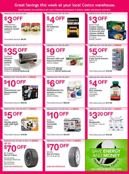 Costco Weekly Handout Instant Savings Coupons East (Oct 20-26)