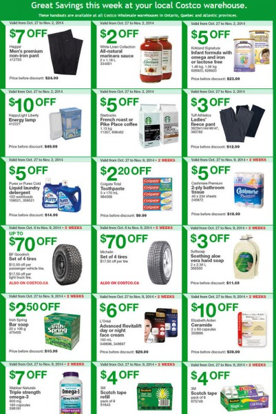 Costco Weekly Handout Instant Savings Coupons East (Oct 27 - Nov 2)