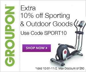 Groupon Extra 10 Off Sporting Goods and Outdoor Goods Promo Code (Oct 31 - Nov 2)