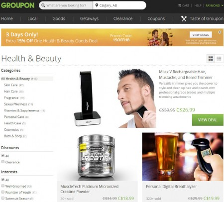 Groupon Extra 15 Off Health and Beauty Goods Deal Promo Code (Oct 24-26)
