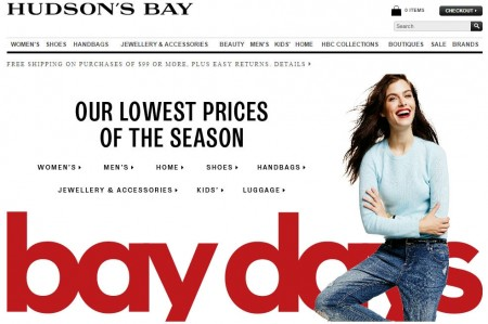 Hudson's Bay Bay Days - Lowest Prices of the Season - Save up to 70 Off (Oct 17 - Nov 4)